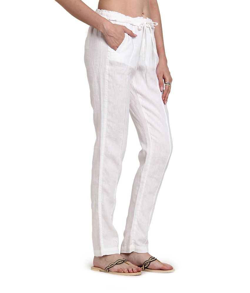 Buy Cotton World White Linen Trousers Online at Best Prices in ...