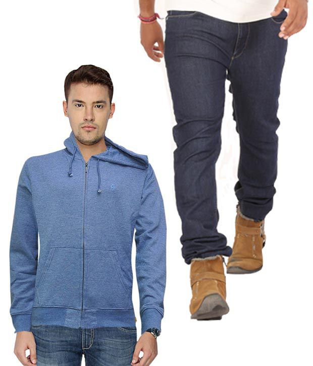 Lee Blue Cotton Blend Skinny Jeans With Blue Hooded Sweatshirt