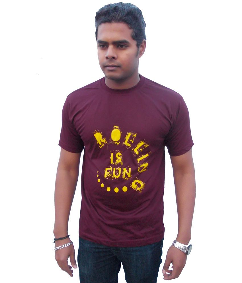 Rolling Ink Maroon Cotton Round Neck T-shirt