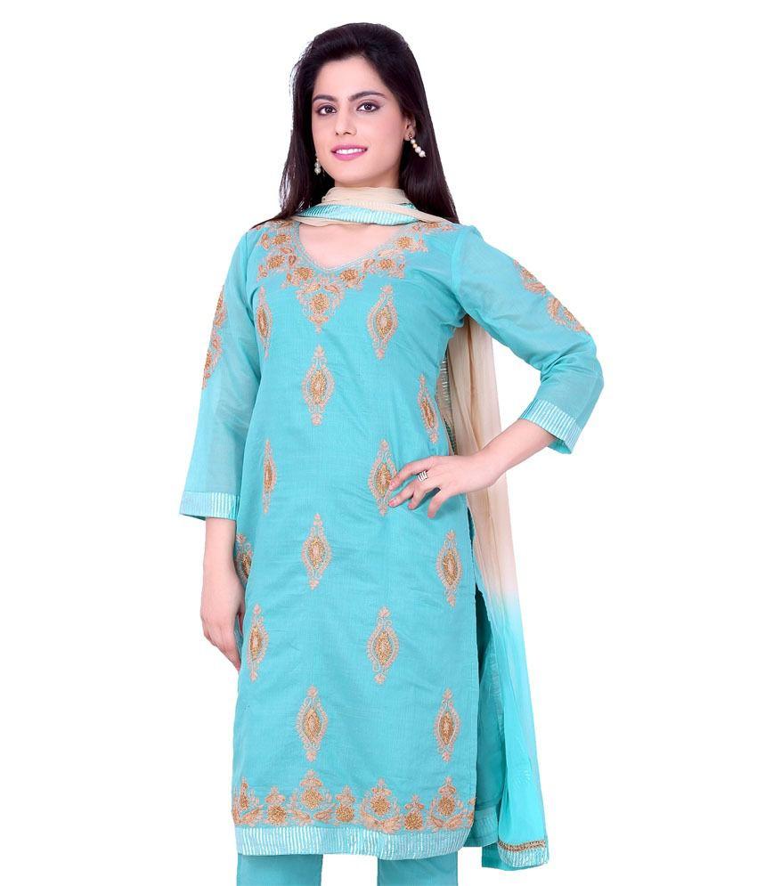 Sequins Readymade Adorable Blue Pure Cotton Knee Length Salwar Suit For Women