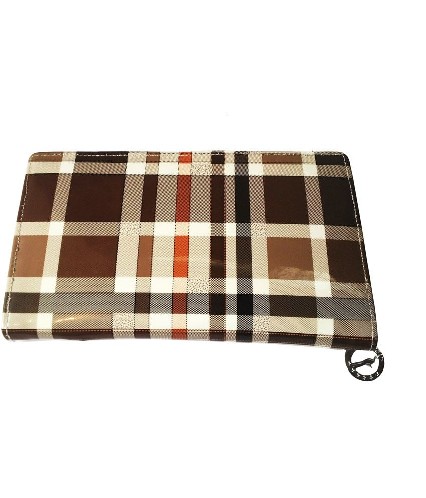 Bags & Bucks Brown Check Clutch