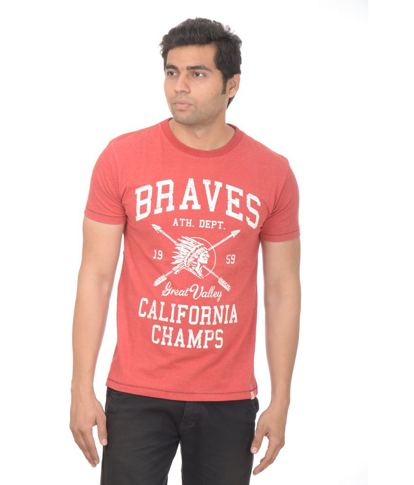 Drastic Red Printed Cotton Designer Half Sleeve T-shirt