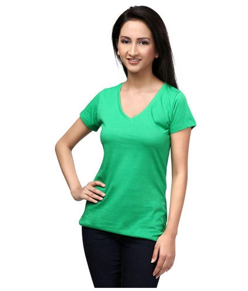 Buy liru creation green color t shirts online at best for Best place to buy t shirts online