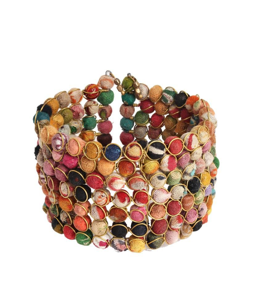 Store Indya Pretty Multi Coloured Beaded Bracelet Bangle