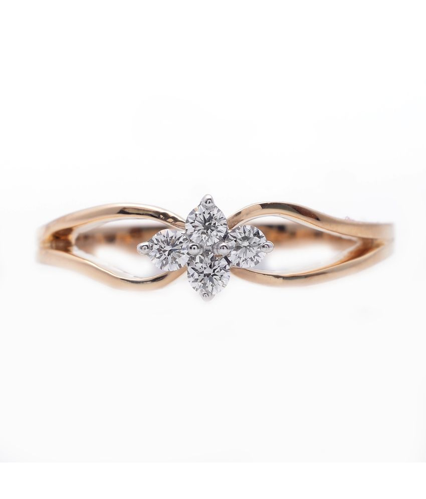 9coins 18kt Yellow Gold Classic Floral Real Diamond Ring