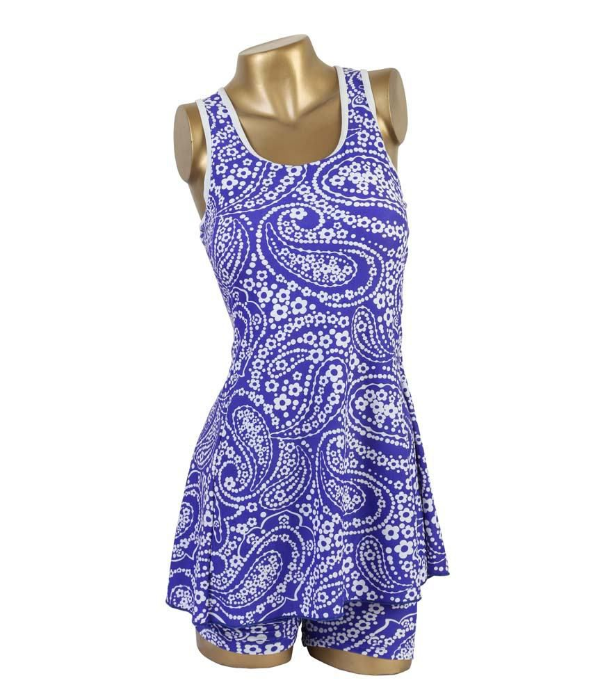 Indraprastha Blue & White Printed With Extended Shorts Swimwear/ Swimming Costume