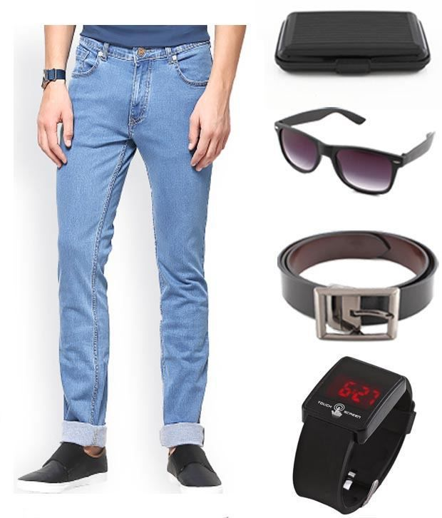 Keepsake Combo Of Mens Jeans With Watch, Belt, Wayfarer Sunglasses & Cardholder