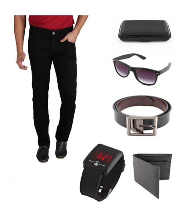 Keepsake Combo Of Mens Jeans With Wallet, Belt, Wayfarer Sunglasses & Cardholder