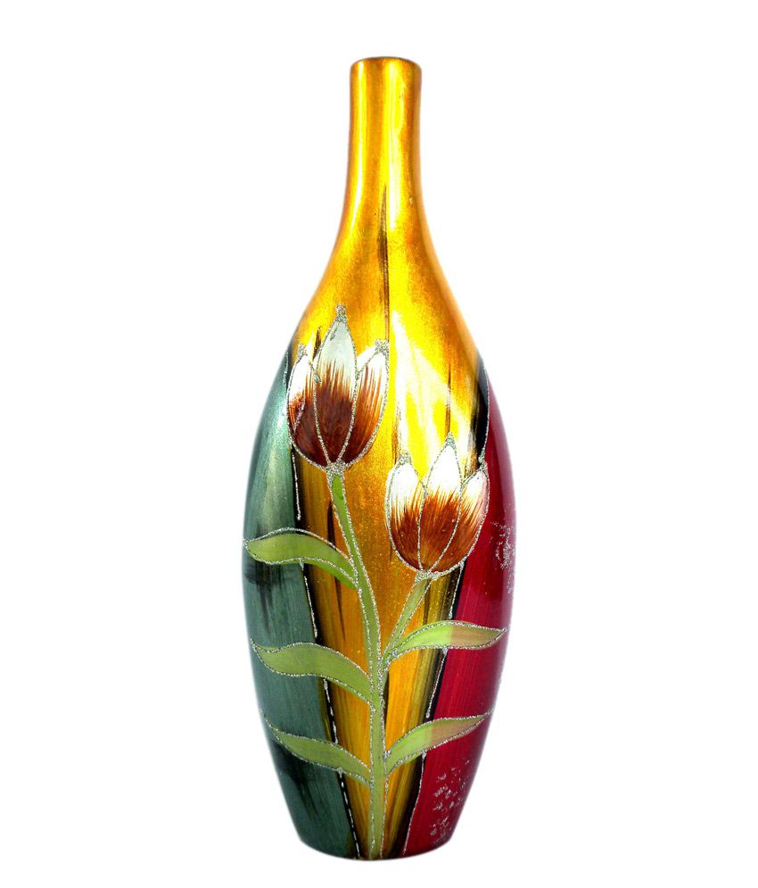Pepalley Elegant Long Oil Painting Ceramic Vase With Tulips Design