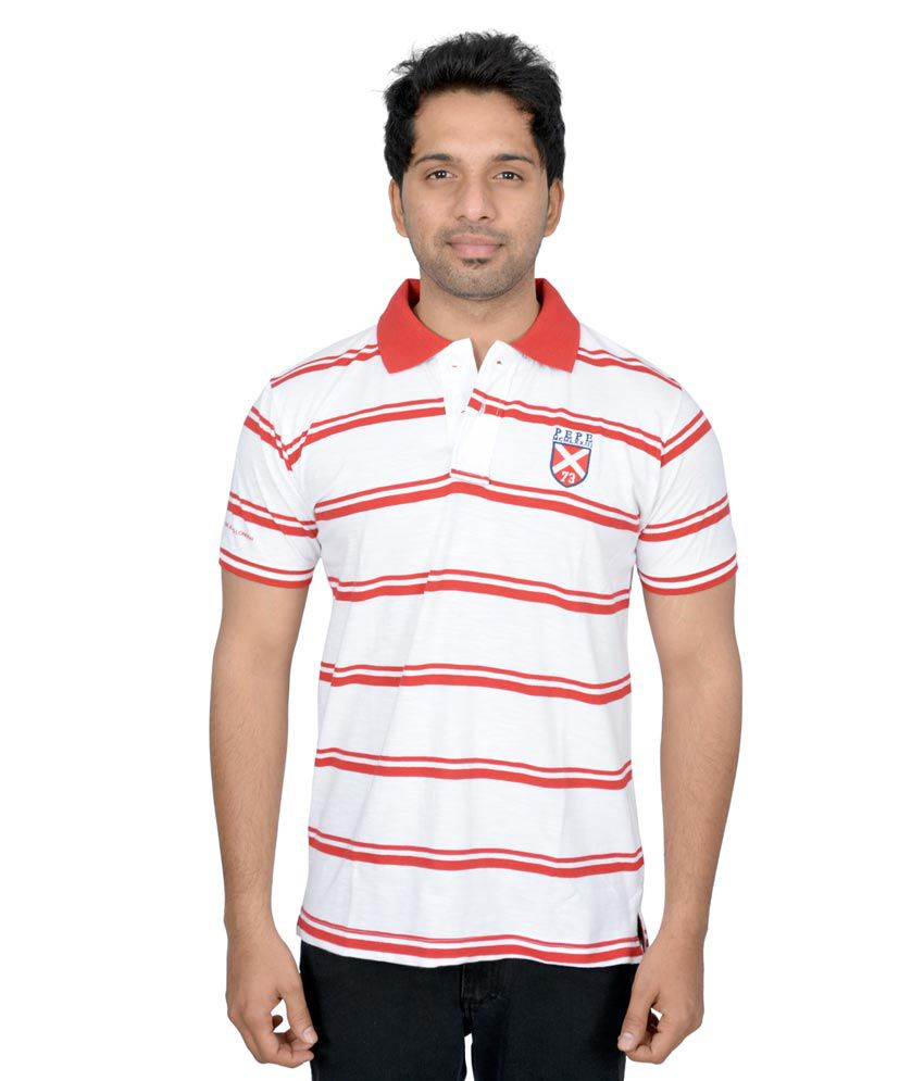 Pepe Jeans London Party Wear Long Sleeves Striped T Shirt -red