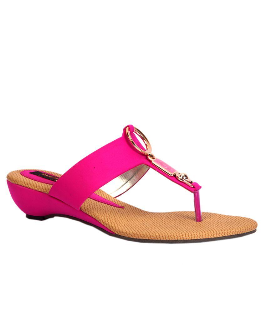 Trilokani Pink Low Heel Flip Flops