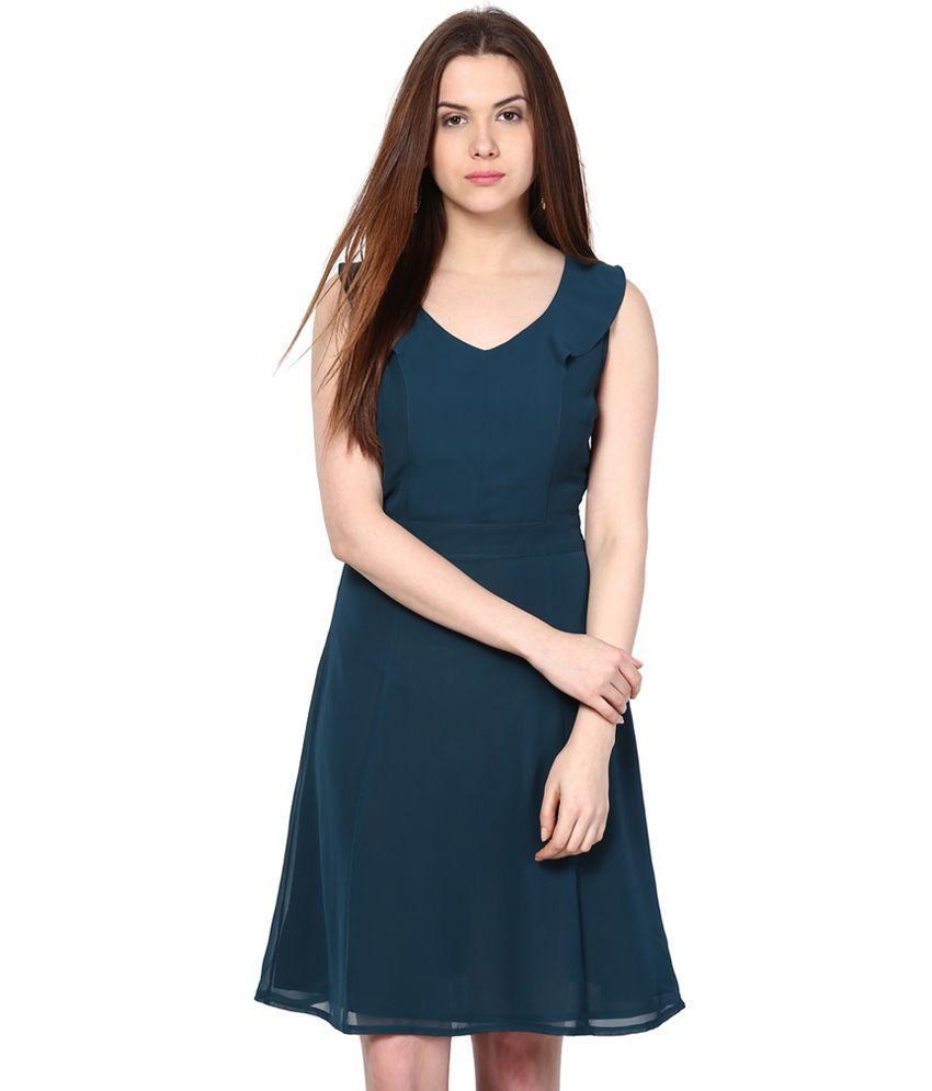 Besiva Green Polyester Dresses