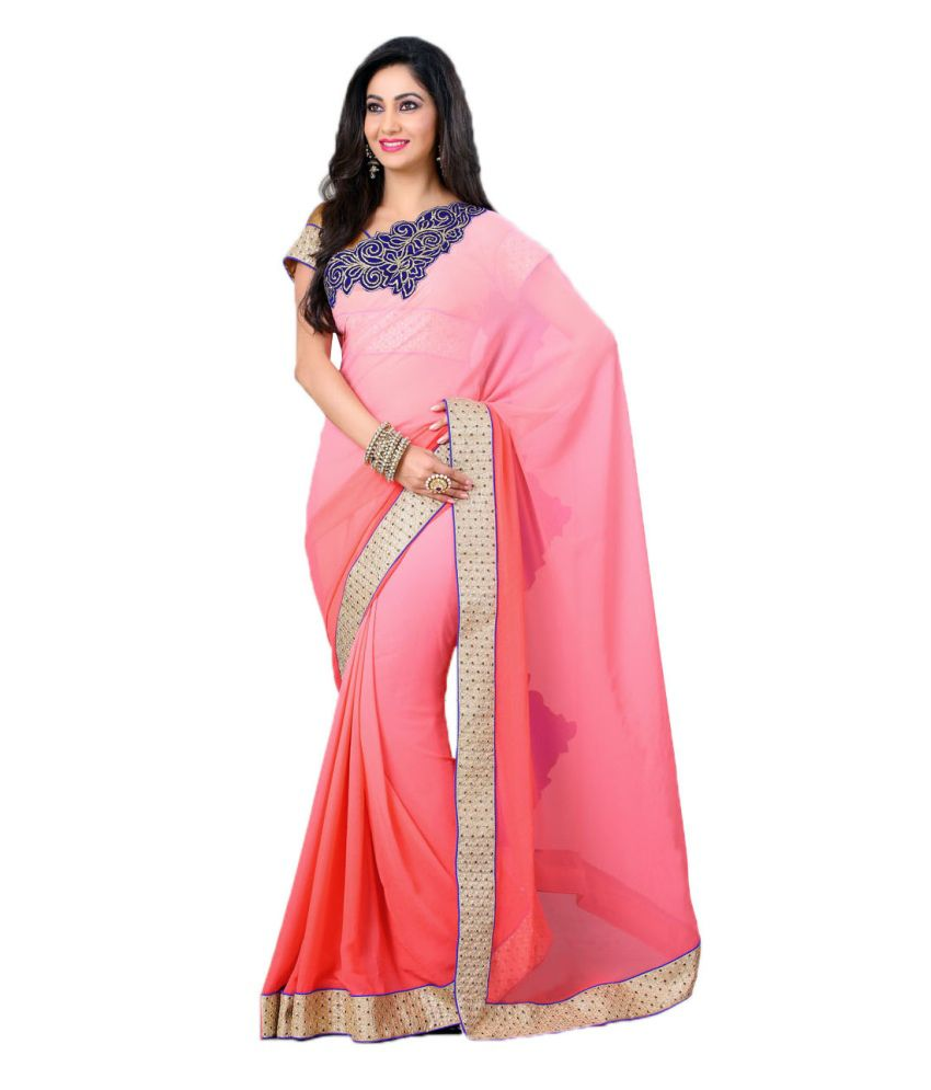 Queens Pink Sarees With Blouse Piece