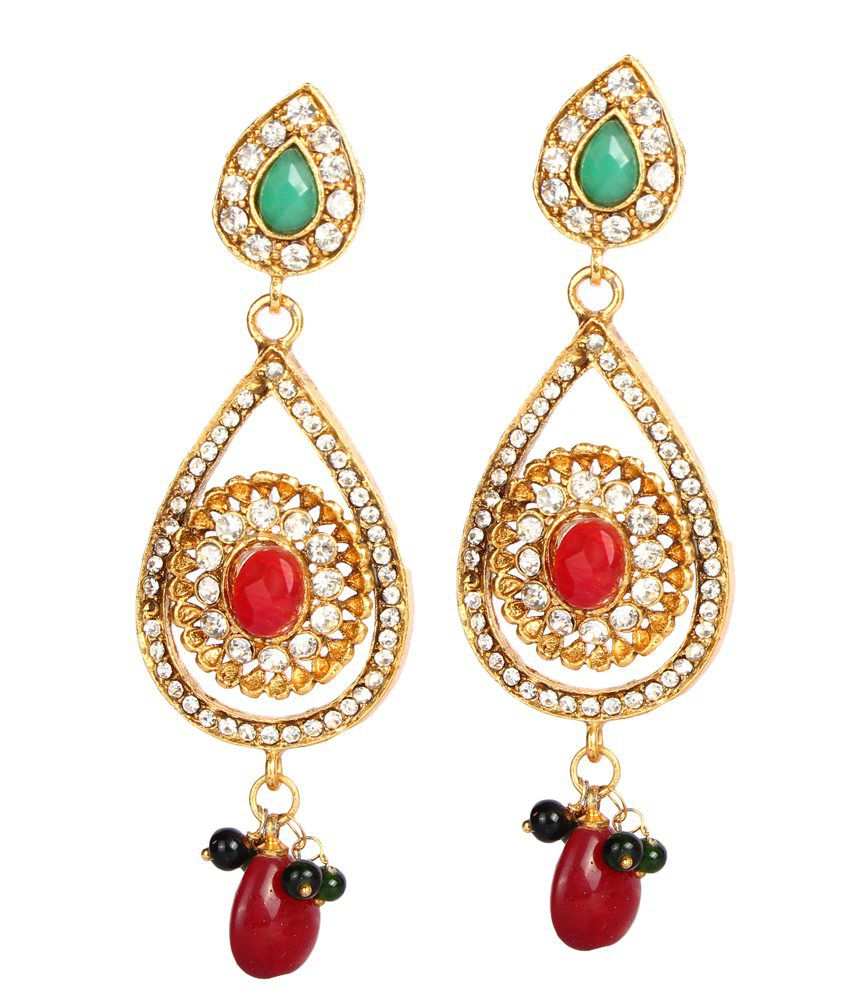 Glitters Multicolor Metal Traditional Earring Set