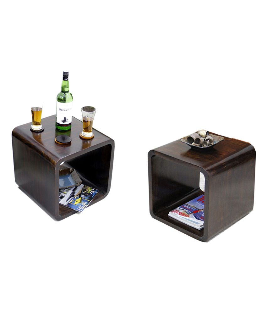 Junglewood Brown 2 Pieces Pair Of Cubical Multipurpose Table