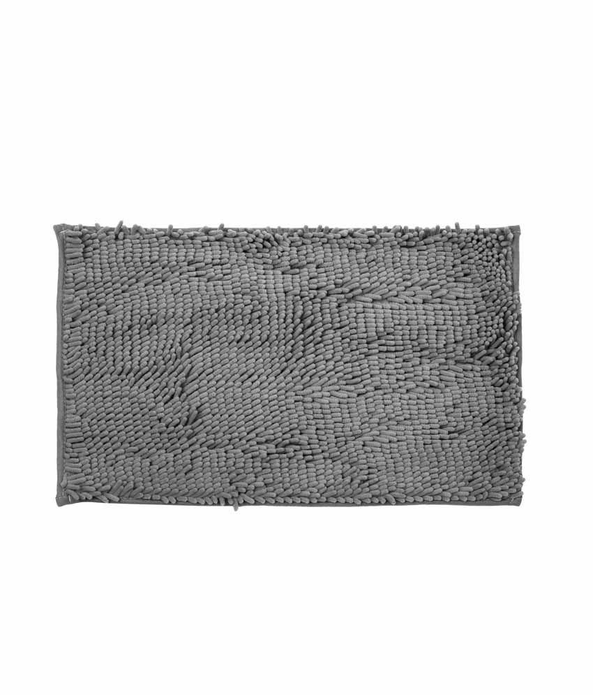 Just Linen Chenile Pom Pom Antiskid Grey Floor Mat
