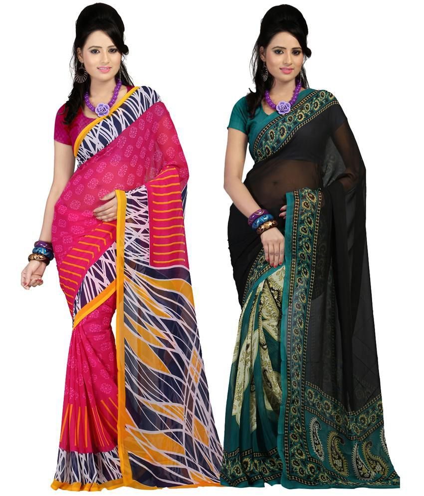 Kartik Pack Of 2 Faux Georgette Multicolour Saree