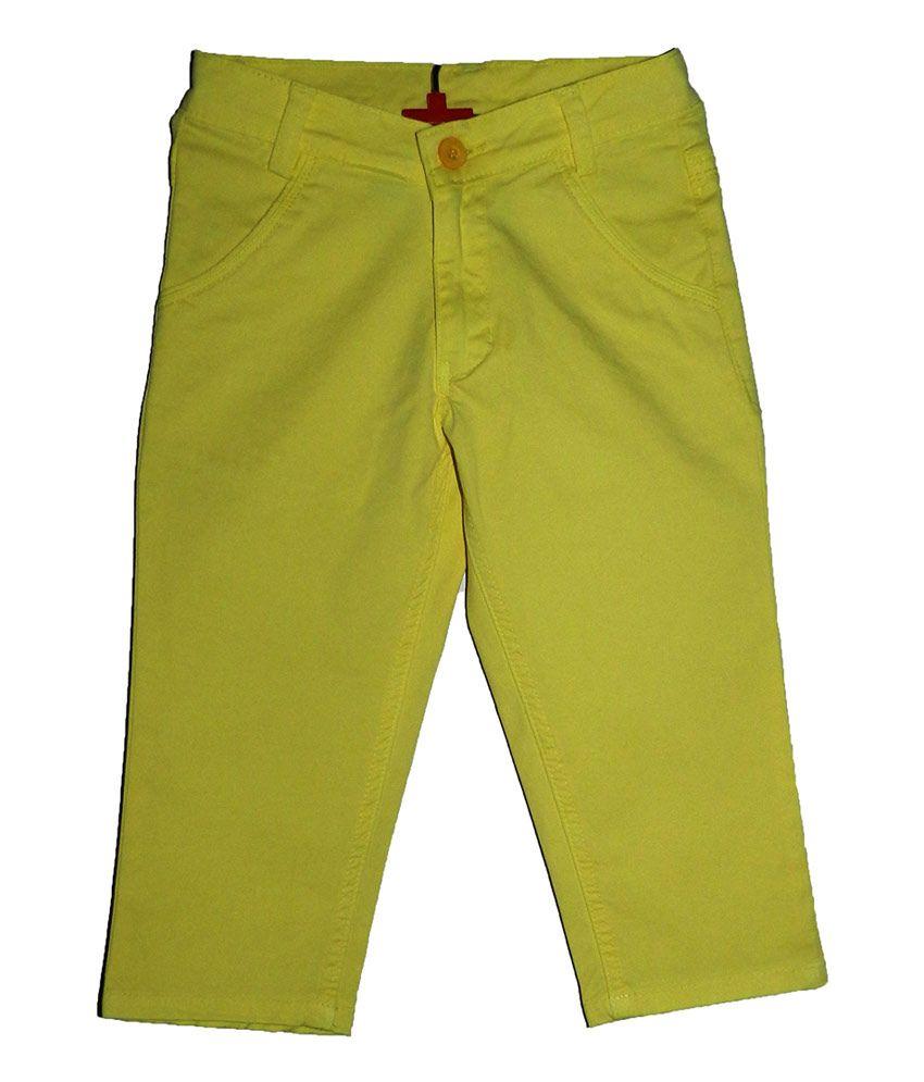 Mcdees Yellow Cotton Capri