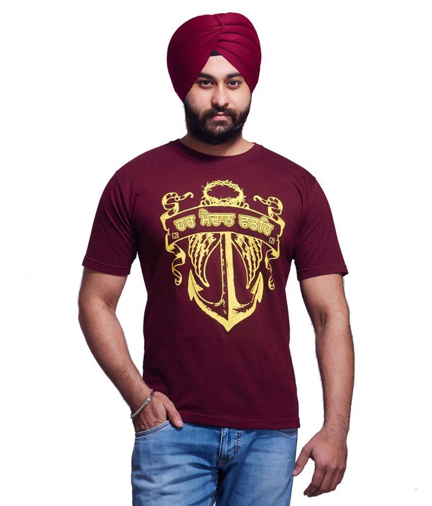 c139da4bc6c Nihaal Har Maidan Fateh Maroon Round Neck Printed Punjabi T-shirt - Buy  Nihaal Har Maidan Fateh Maroon Round Neck Printed Punjabi T-shirt Online at  Low ...