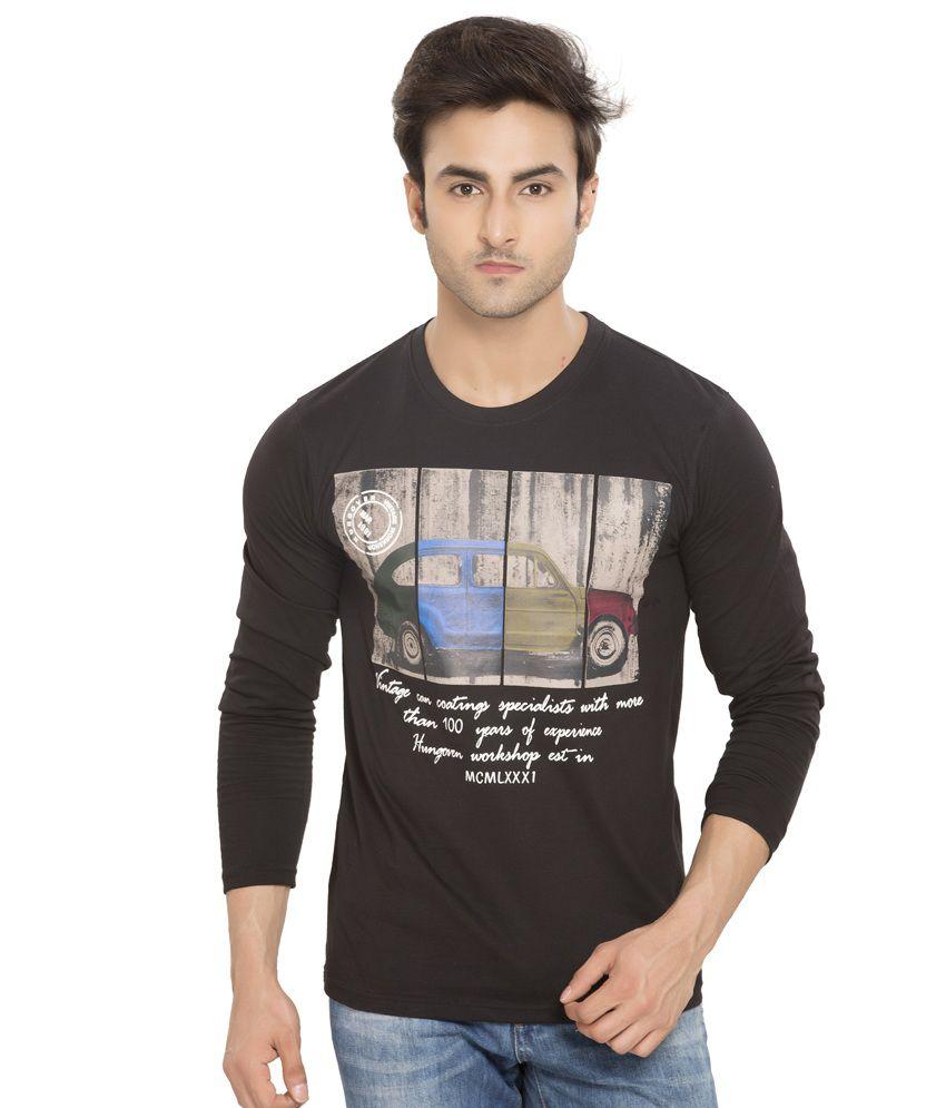 Alan Jones Black Printed Cotton Round Neck T- Shirt