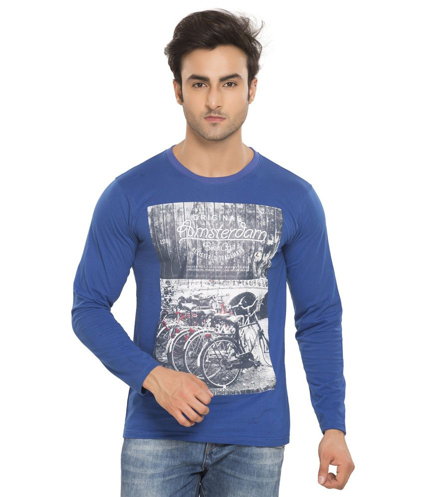 Alan Jones Blue Printed Cotton Round Neck T- Shirt