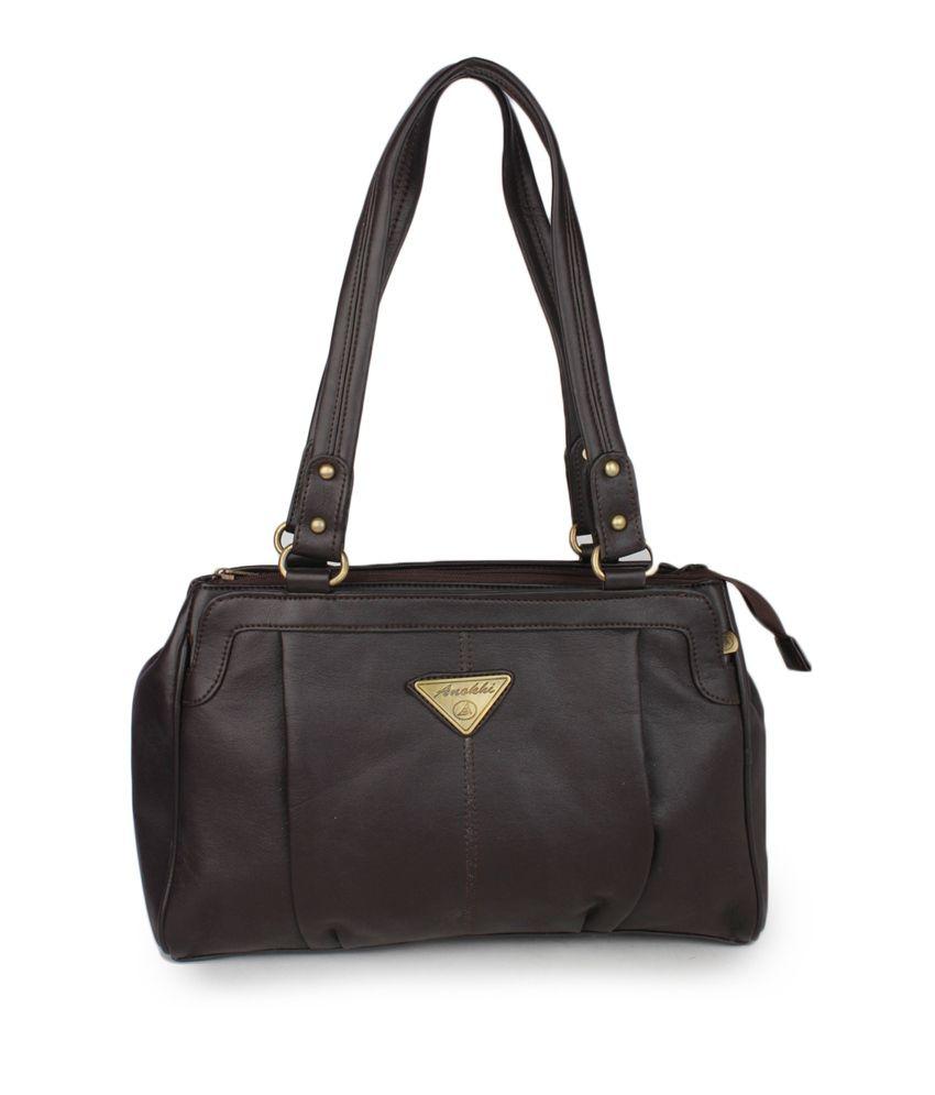 Aris Mart Brown Zip Closure Non Leather Shoulder Bag