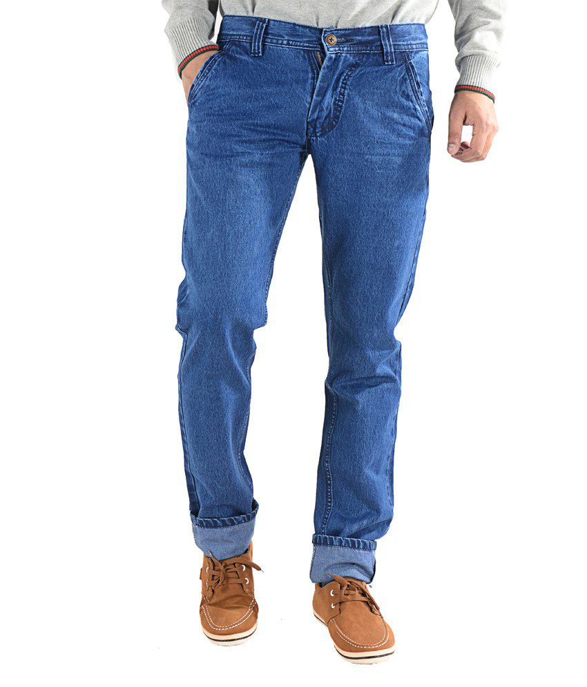 K'live Mens Blue Faded Regular Fit Jeans
