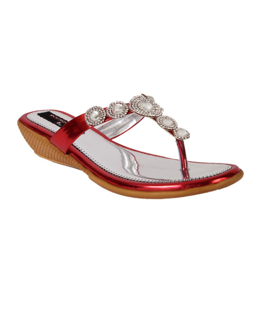 Trilokani Red Flat Slippers For Women