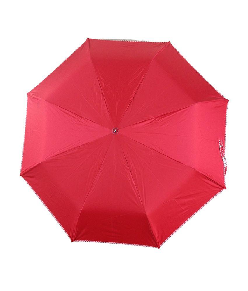 4d94938ac38 Jyoti Umbrellas Red Nylon 3 Fold Umbrella For Women: Buy Online at ...