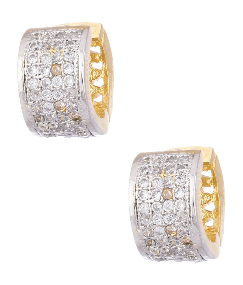 Voylla Pair Of Small Sized Hoop Earrings Embellished With Cz