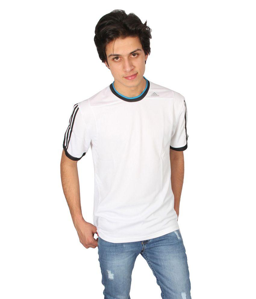 Adidas White Polyester Round Neck T-shirt