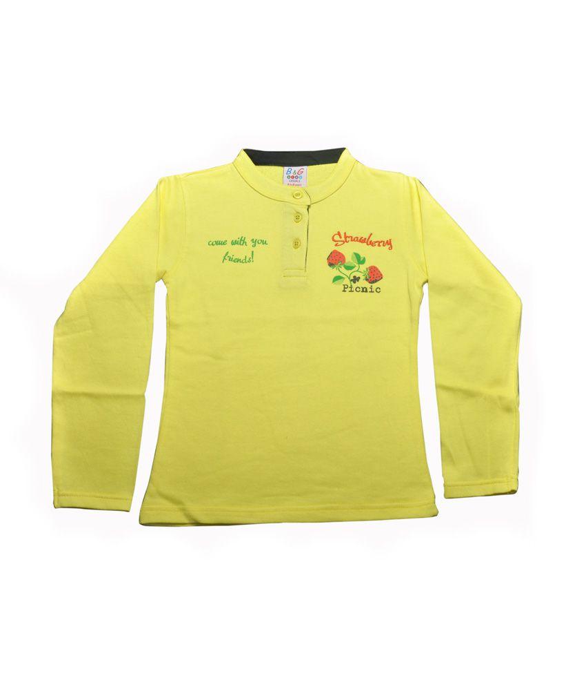 Bg Casual Yellow Cotton Without Hood Sweatshirt For Girls