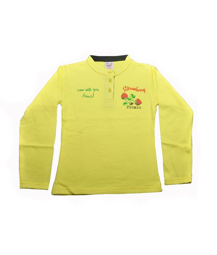 Bg Casual Yellow Cotton Without Hood Sweatshirt For Girls