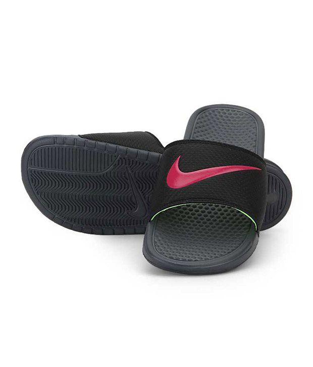 d24918e9e71a Nike Benassi Swoosh Black Slippers Nike Benassi Swoosh Black Slippers ...