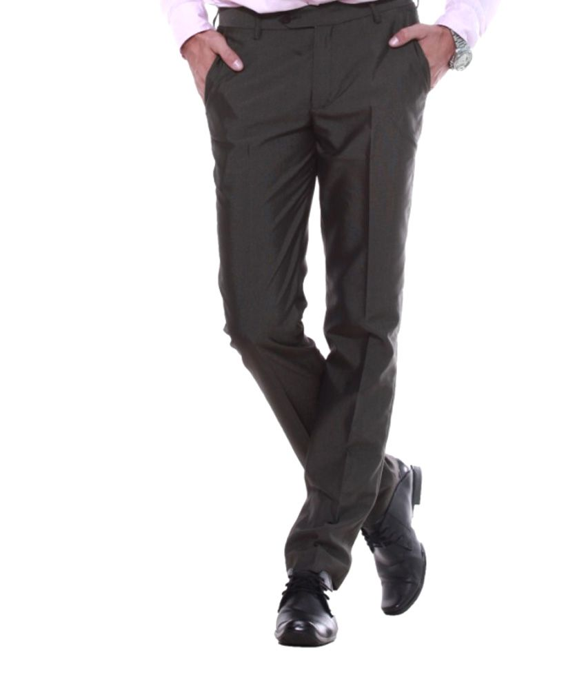 Sangam Apparels Brown Slender Slim Fit Formal Trousers