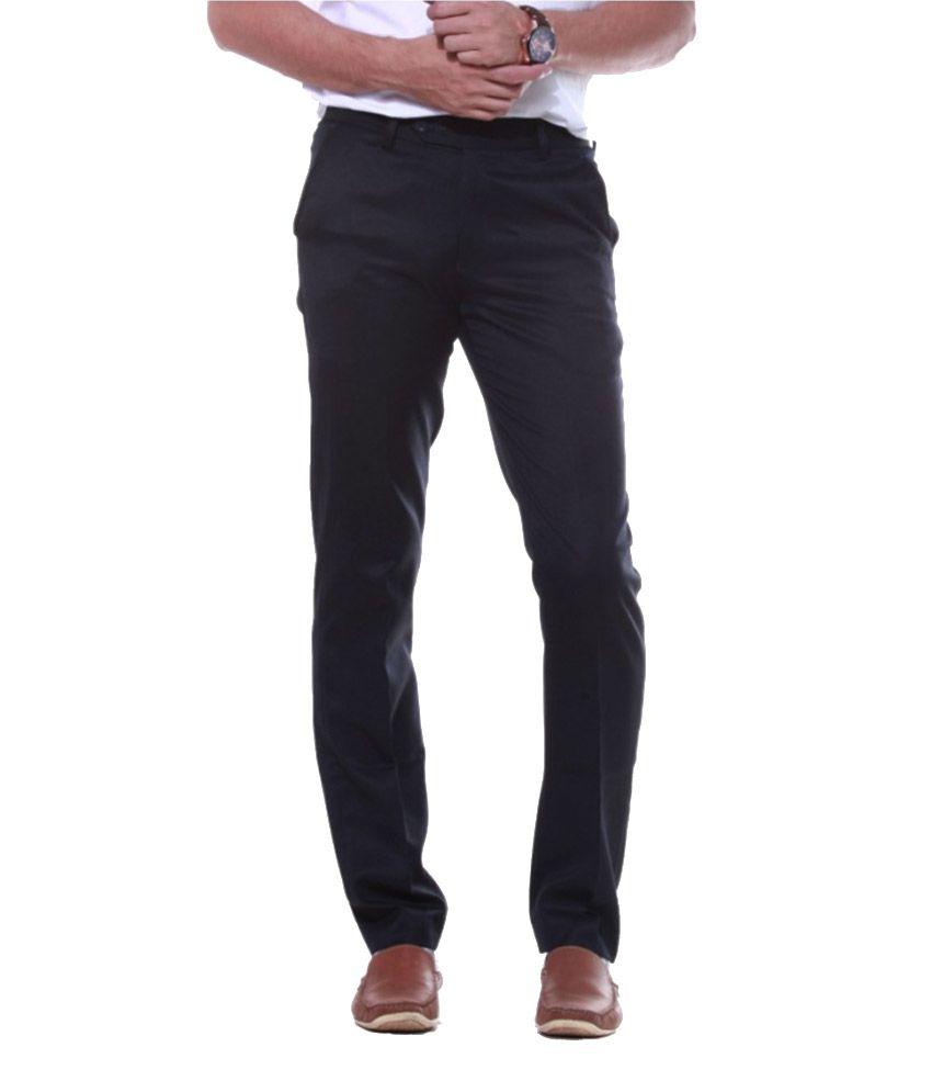 Sangam Apparels Navy Slender Slim Fit Formal Trousers