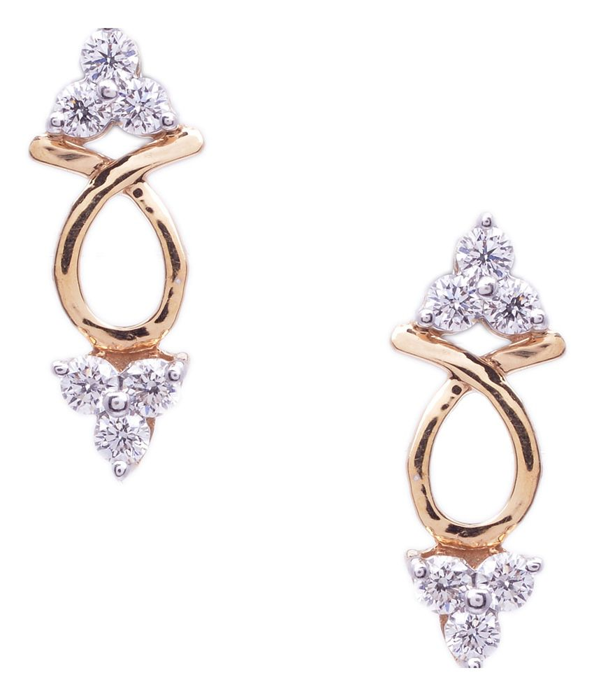 9coins 18kt Gold Natural Real Diamond Classic Earrings