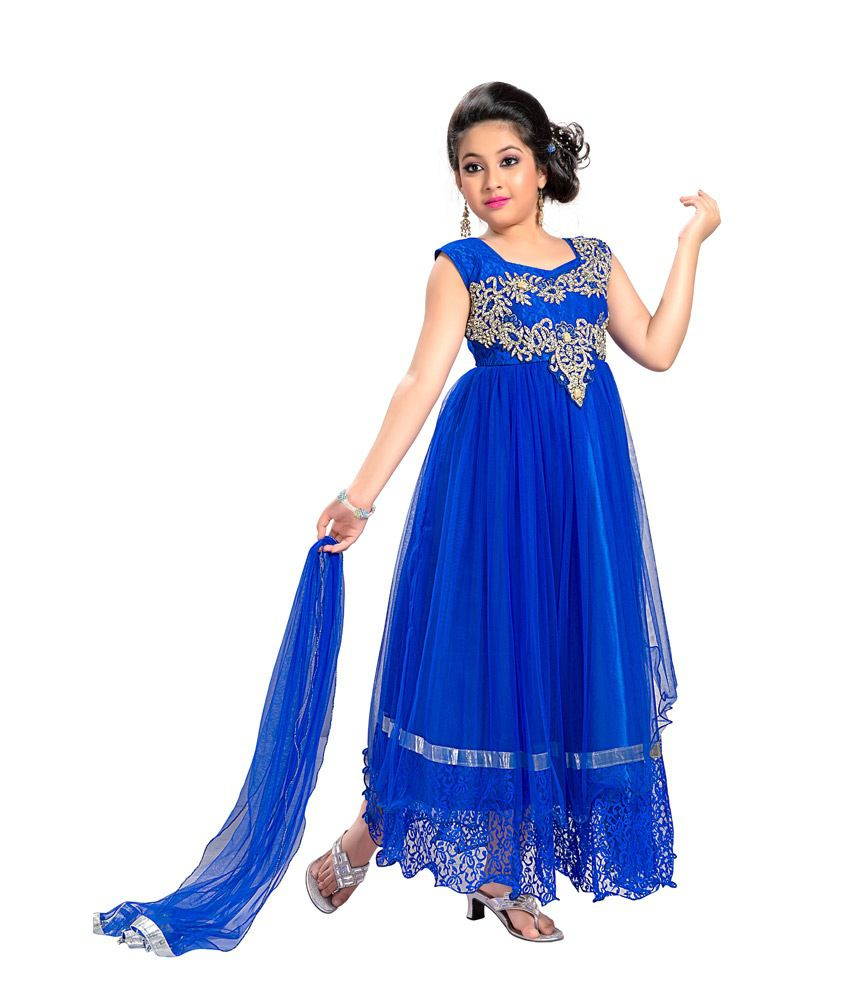 5abe30aa53 Aarika Blue Party Wear Gown For Kids - Buy Aarika Blue Party Wear Gown For Kids  Online at Low Price - Snapdeal