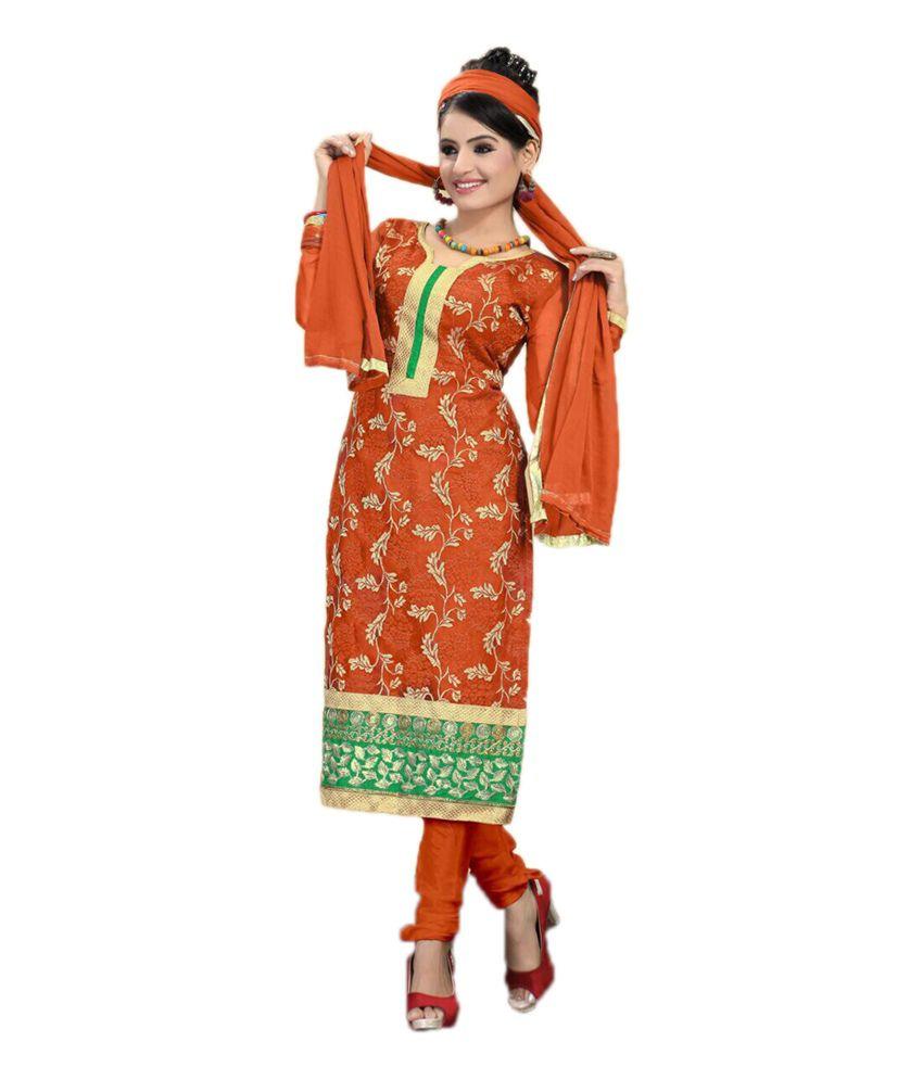 Anshika Lifestyle Orange Net Unstitched Dress Material ...