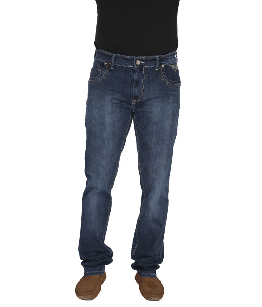 Leonidas Blue Cotton Slim Men's Jeans