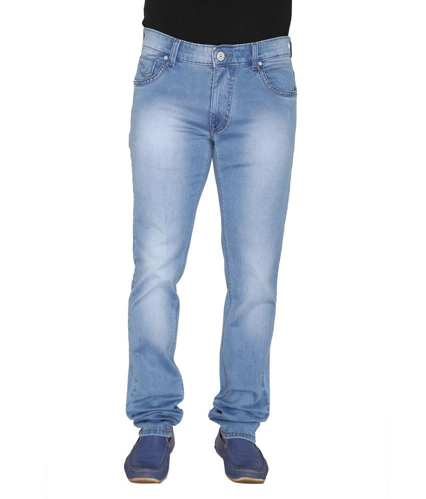 Leonidas Blue Cotton Slim Men's Jeans