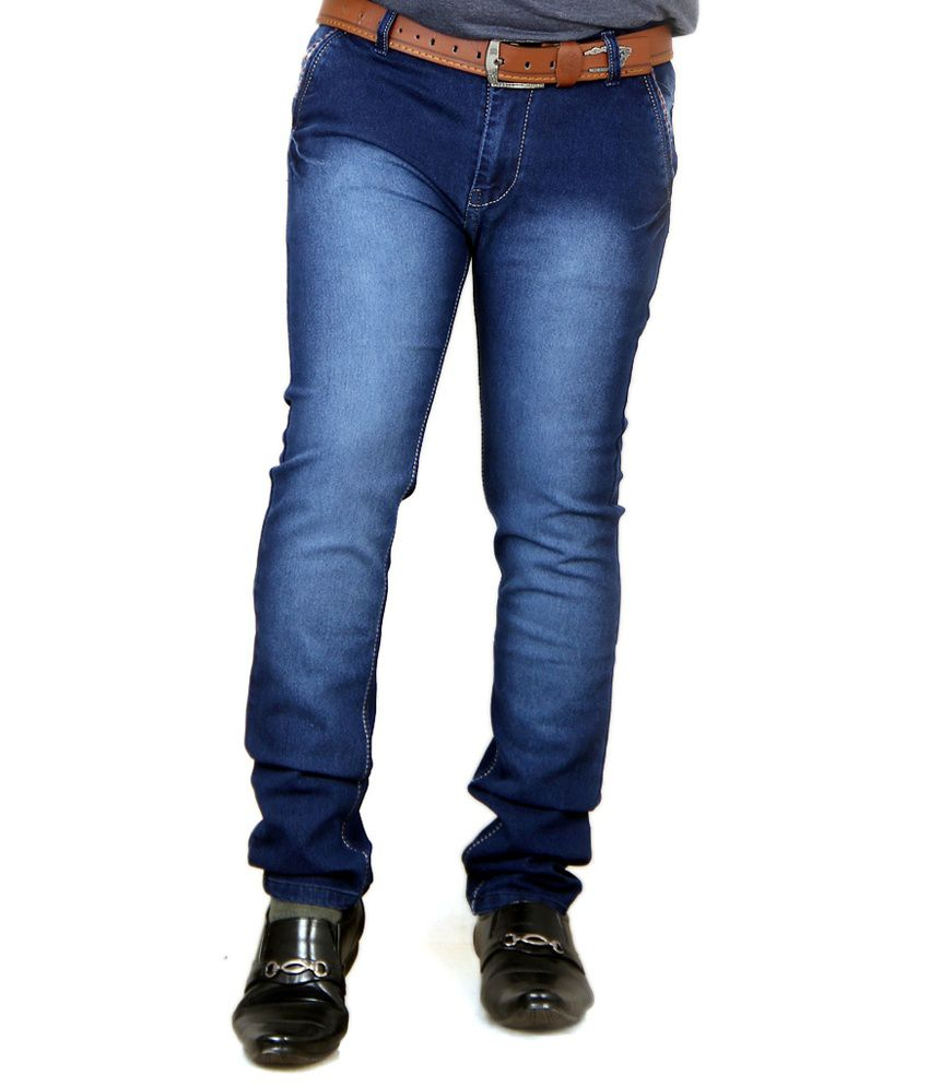 Acro Navy Cotton Faded Regular Fit Jeans For Men