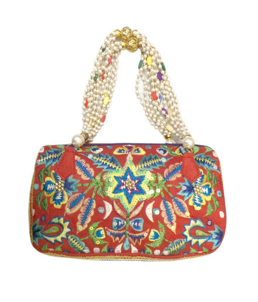 Bhamini Pink Embroiderd Classy Handbag (white Like Ivory)