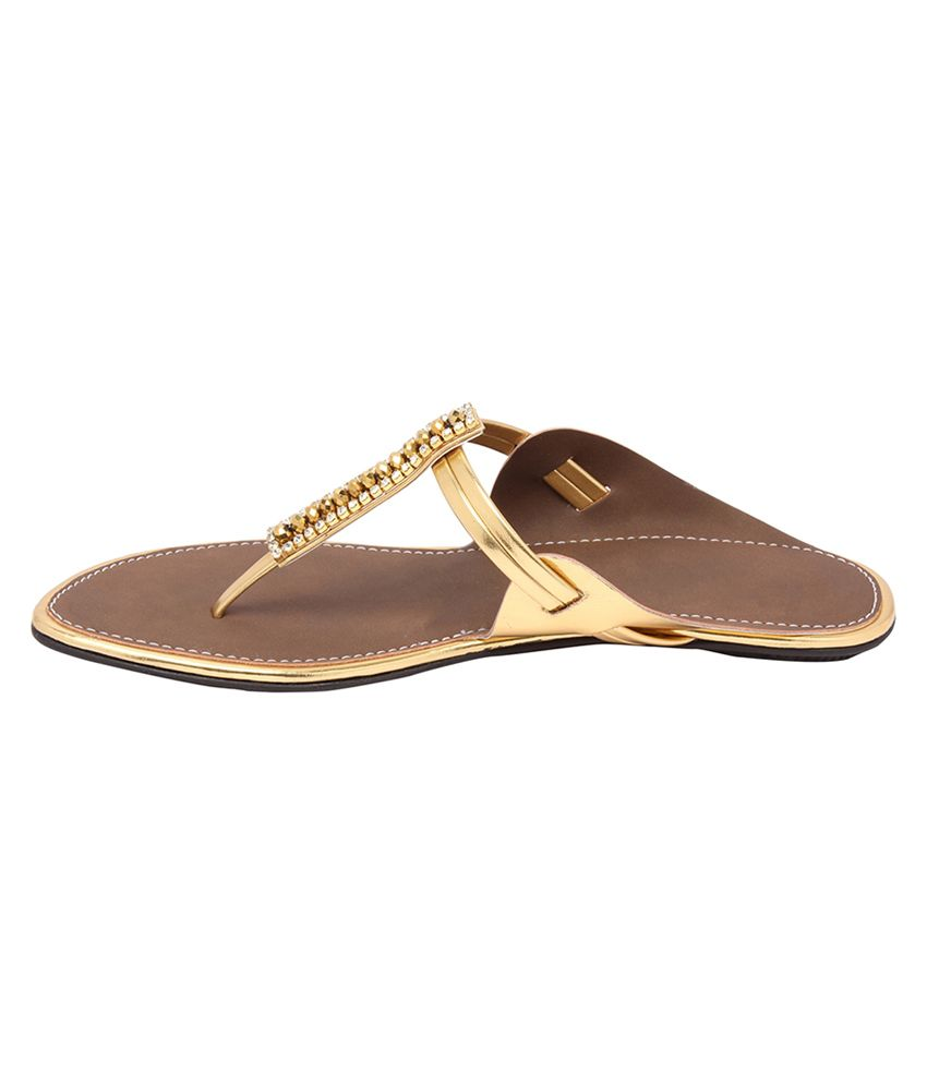 Jean Grey Gold Faux Leather T-strap Flats