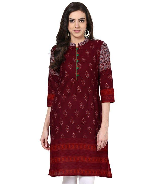 Prakhya Printed Red 3/4 Sleeve Long Cotton Kurta
