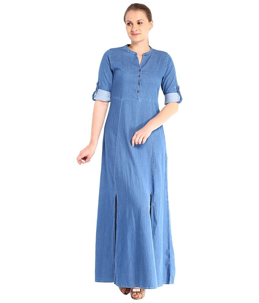 e497e53fe3 Tokyo Talkies Blue Denim Maxi Dress - Buy Tokyo Talkies Blue Denim Maxi Dress  Online at Best Prices in India on Snapdeal