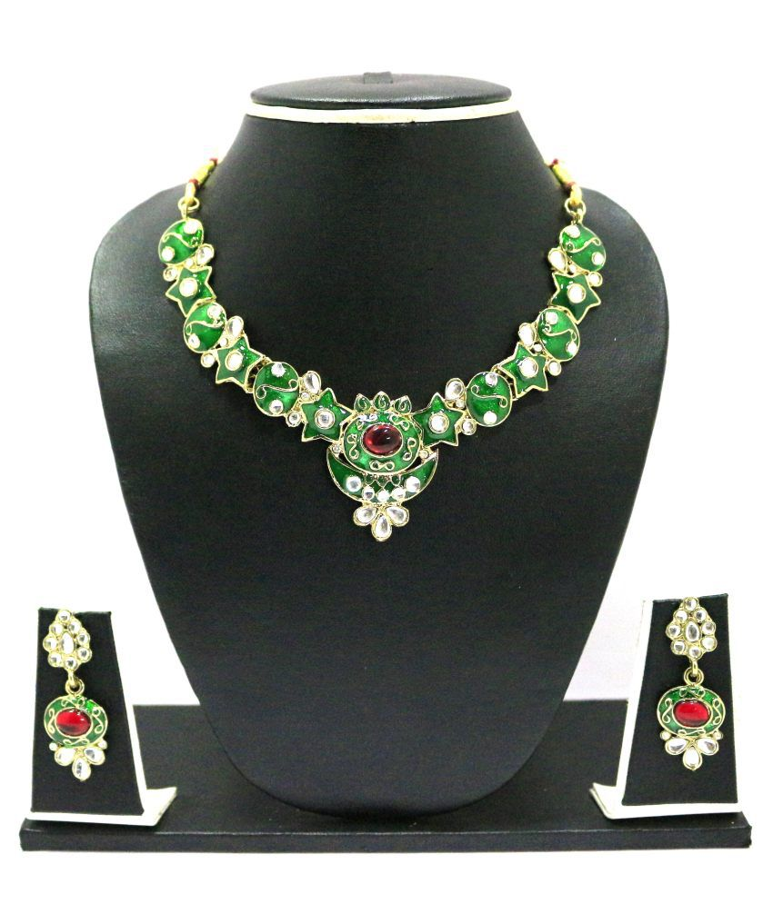 Zaveri Pearls Green Alloy Contemporary Necklace Set
