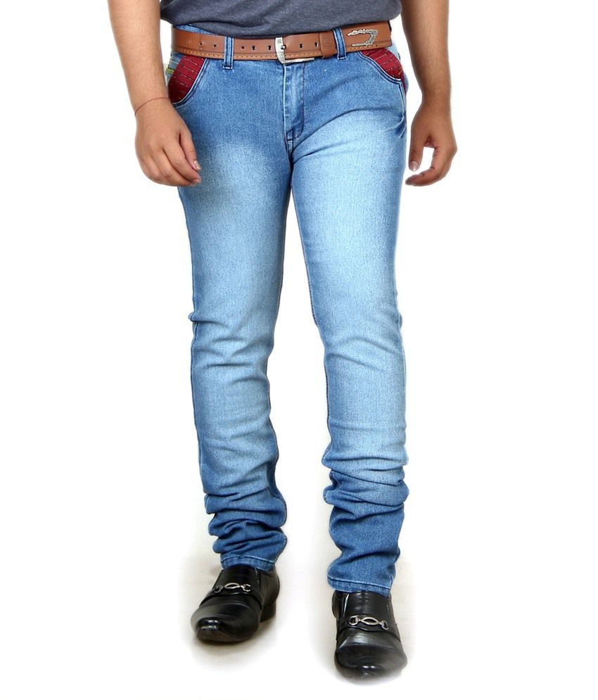 Acro Blue Cotton Faded Regular Fit Jeans For Men