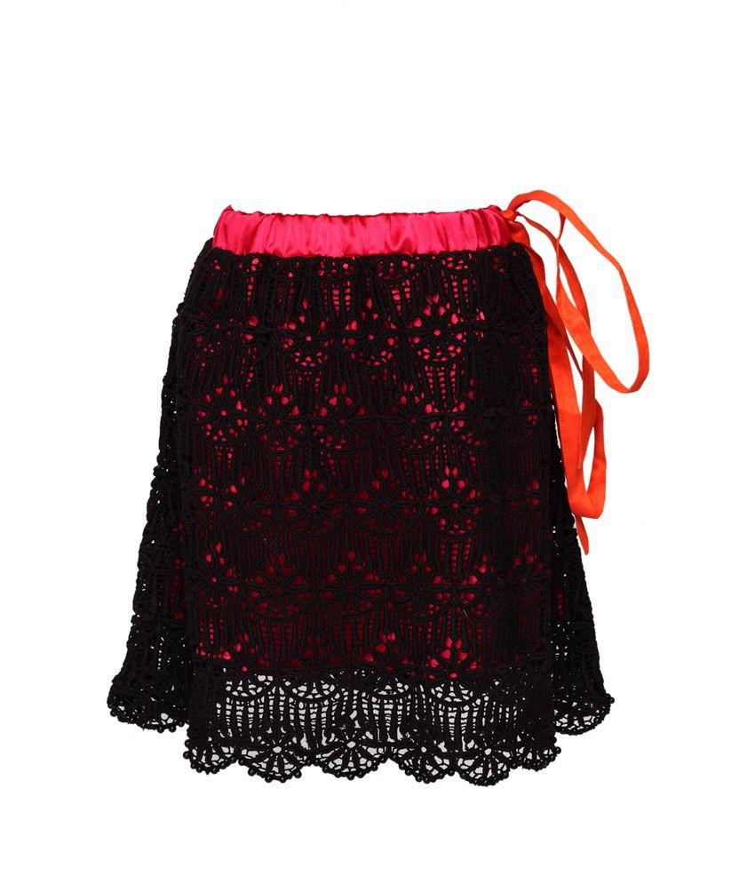 B'bay Pure Black Silk Design Elastic Skirt
