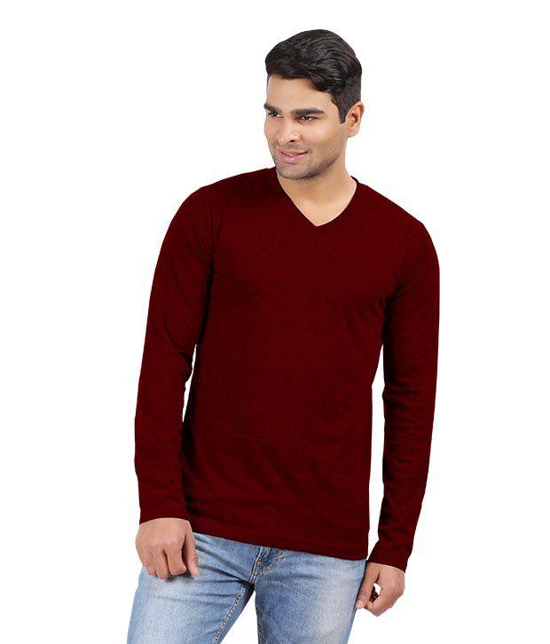 Hbhwear Mens Burgandy V-neck Full Sleeve T-shirt